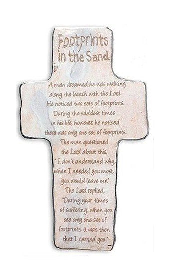 Footprints in The Sand - Art Metal Cross-Plaque-Serenity Gifts