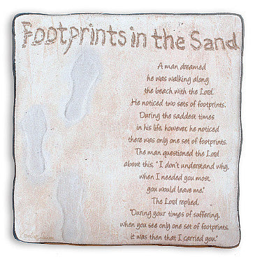 Footprints in The Sand - Art Metal Plaque-Plaque-Serenity Gifts