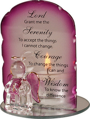 Serenity Prayer - Glass Angel Tea Light Holder-Tea Light Holder-Serenity Gifts