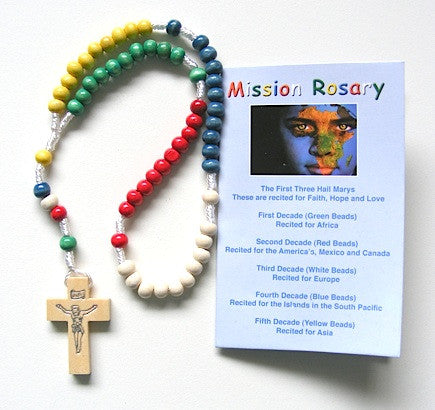 Corded Mission Wooden Rosary Beads and Leaflet-Rosary Beads-Serenity Gifts