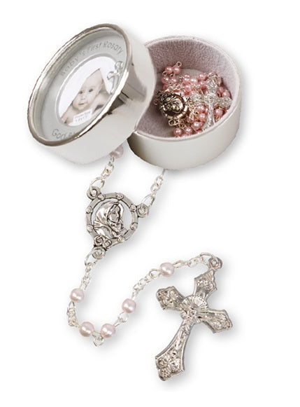 Baby's First Rosary Beads in Metal Photo Case - Pink-Baptism & Christening-Serenity Gifts