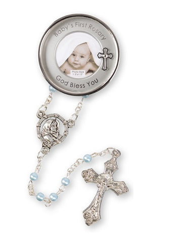 Baby's First Rosary Beads in Metal Photo Case - Blue-Baptism & Christening-Serenity Gifts