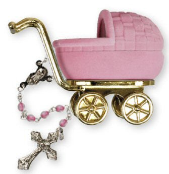 Baby's First Rosary Beads in Pram Case - Pink-Baptism & Christening-Serenity Gifts