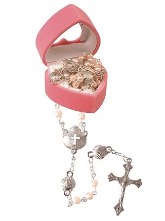 Baby's First Rosary Beads in Heart Case - Pink-Baptism & Christening-Serenity Gifts