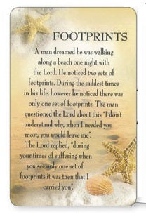 Prayer Card - Footprints - Shells-Prayer Card-Serenity Gifts