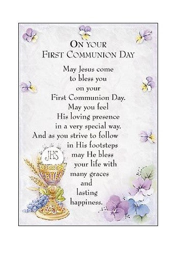 First Holy Communion Prayer Card - Lilac-Prayer Card-Serenity Gifts