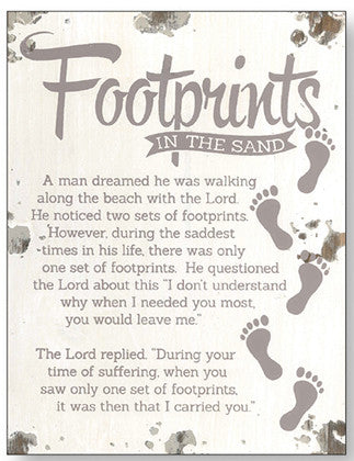 Footprints - Distressed Wood Plaque-Plaque-Serenity Gifts