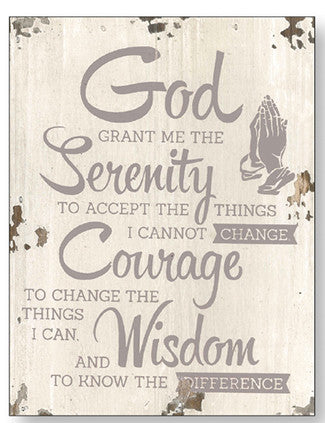 Serenity Prayer - Distressed Wood Plaque-Plaque-Serenity Gifts