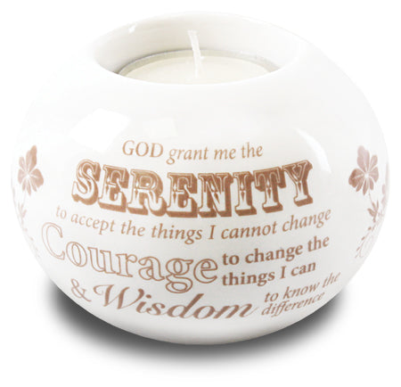 Serenity Prayer - White Porcelain Tea Light Holder-Tea Light Holder-Serenity Gifts