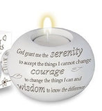 Serenity Prayer - White Resin Tea Light Holder-Tea Light Holder-Serenity Gifts