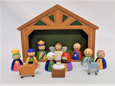 "Childrens Wooden Nativity Set - 2"" Figures-Nativity-Serenity Gifts"