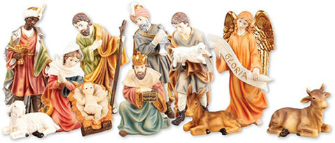 "Traditional Gloria Nativity Figurines - Large 10"" Resin-Nativity-Serenity Gifts"