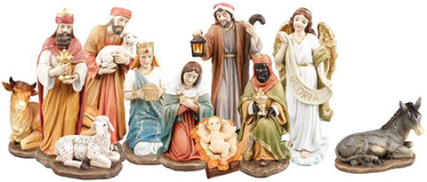 "Traditional Nativity Figurines - 8"" Resin Gloria Angel-Nativity-Serenity Gifts"