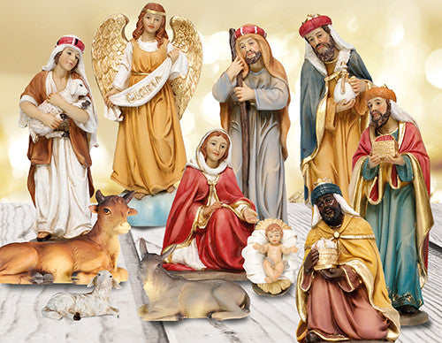 "Gloria Nativity Figurines - Large 10"" Resin-Nativity-Serenity Gifts"