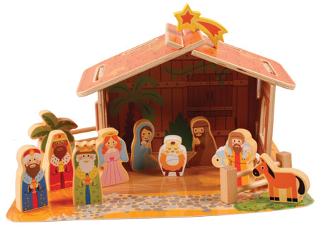 "Childrens Wooden Nativity Figures and Stable 2.5""-Nativity-Serenity Gifts"