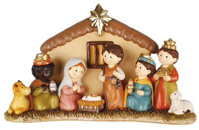"Childrens Nativity Scene - Fixed Resin Ornament with 3"" Figures-Nativity-Serenity Gifts"