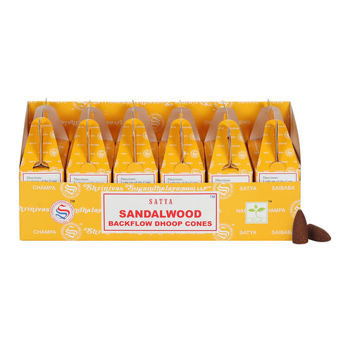 Satya Backflow Dhoop Cones - Sandalwood-Incense-Serenity Gifts