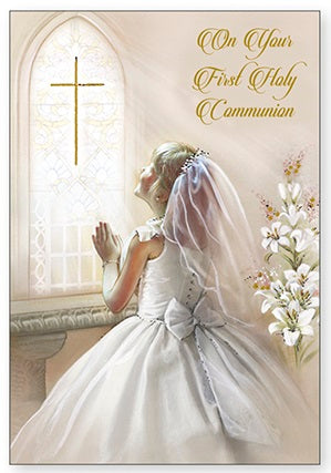 Greeting Card Holy Communion - Praying Girl-Greeting Card-Serenity Gifts