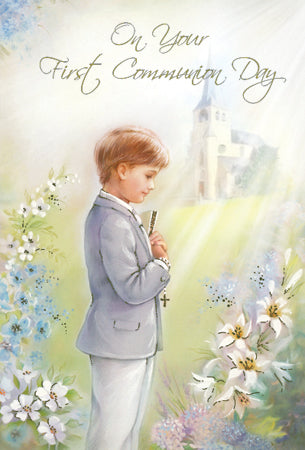 Greeting Card Holy Communion Church Garden - Boy-Greeting Card-Serenity Gifts