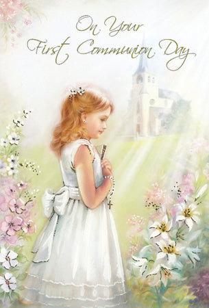 Greeting Card Holy Communion Church Garden - Girl-Greeting Card-Serenity Gifts