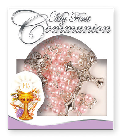 First Holy Communion Rosary - Pearl Pink-Rosary Beads-Serenity Gifts