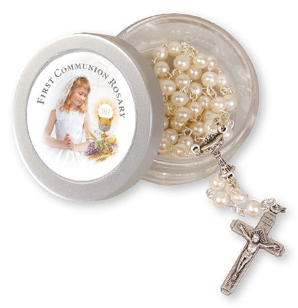 First Holy Communion Rosary - Imitation Pearl in Case-Holy Communion-Serenity Gifts