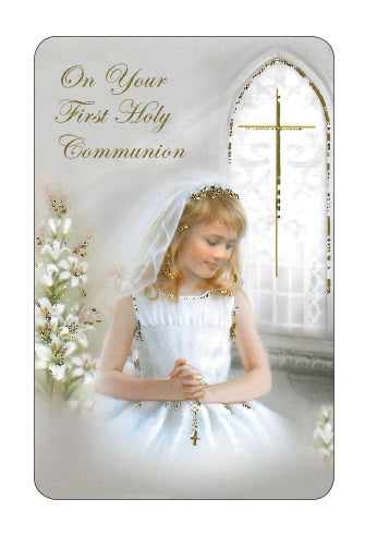 First Holy Communion Prayer Card - Girl in Church-Prayer Card-Serenity Gifts