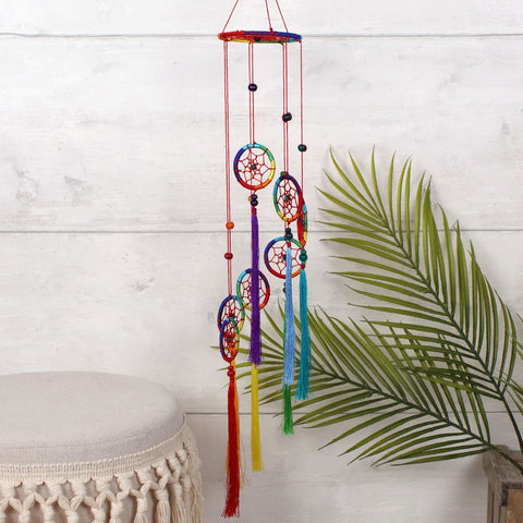Chakra Rainbow Spiral Dreamcatcher - Long Tassels-Chakra Gifts-Serenity Gifts