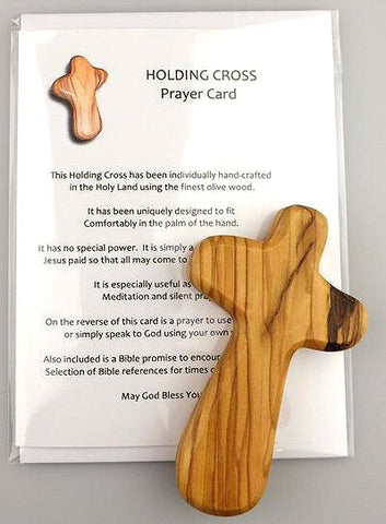 Olive Wood Holding Cross from Holy Land - Large-Holding Cross-Serenity Gifts