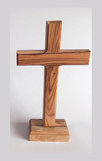 "Olive Wood Cross on Stand 7""-Cross-Serenity Gifts"
