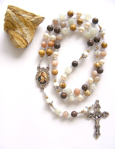 Handmade Rosary - Moonstone, Sunstone Sacred Heart Of Mary-Rosary Beads-Serenity Gifts