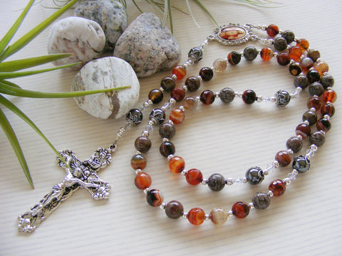 Handmade Rosary - Coffee Agate Sacred Heart of Jesus-Rosary Beads-Serenity Gifts