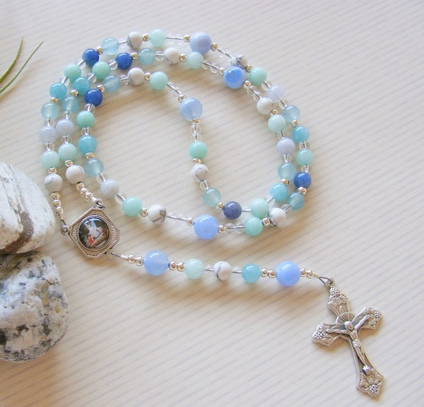 First Communion Handmade Rosary - Blue Aventurine Gemstone-Jewellery-Serenity Gifts