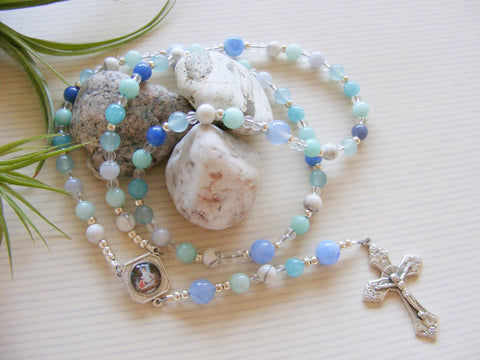 Handmade Rosary - Amazonite Guardian Angel-Rosary Beads-Serenity Gifts
