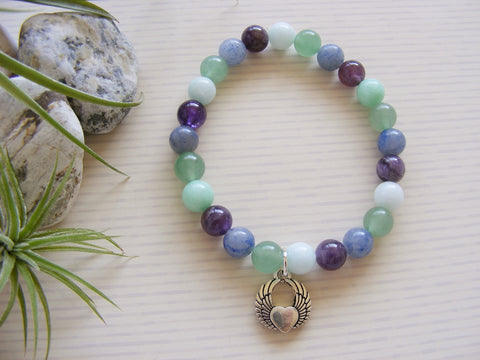 Aventurine Gemstone Stretch Bracelet - Angel Wings with Heart-Jewellery-Serenity Gifts