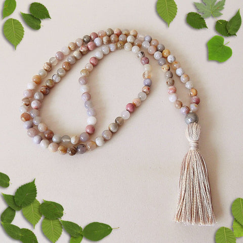 Handmade Mala Beads - Natural Australian Agate and Rhodonite-Mala Beads-Serenity Gifts