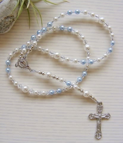 Baby Handmade First Rosary - Swarovski Blue Pearl-Jewellery-Serenity Gifts