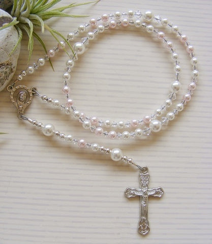 Baby Handmade First Rosary - Swarovski Pink Pearl-Jewellery-Serenity Gifts