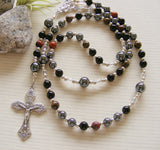 First Communion Handmade Rosary - Black Onyx, Bronzite and Hematite-Rosary Beads-Serenity Gifts