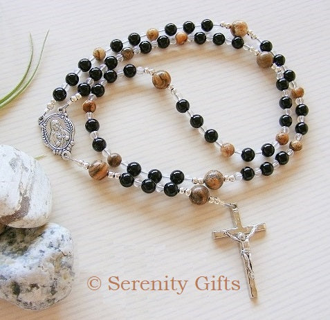 First Communion Handmade Rosary - Black Onyx-Jewellery-Serenity Gifts