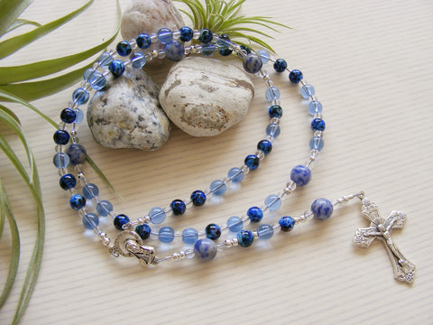 Handmade Rosary - Blue Glass-Rosary Beads-Serenity Gifts