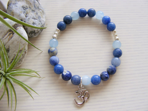 Gemstone Stretch Bracelet - Silver Om Blue Throat Chakra-Chakra Gifts-Serenity Gifts