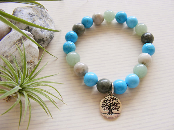 Green Aventurine Peace Jade Stretch Bracelet - Silver Tree of Life-Jewellery-Serenity Gifts