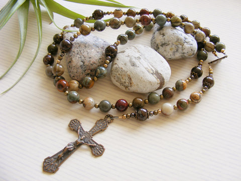 Handmade Rosary - Antique Bronze and Red Creek Jasper-Rosary Beads-Serenity Gifts