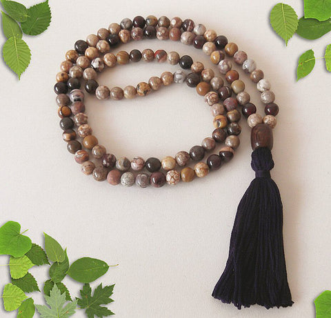 Handmade Mala Beads - Brown Bead Mix-Mala Beads-Serenity Gifts
