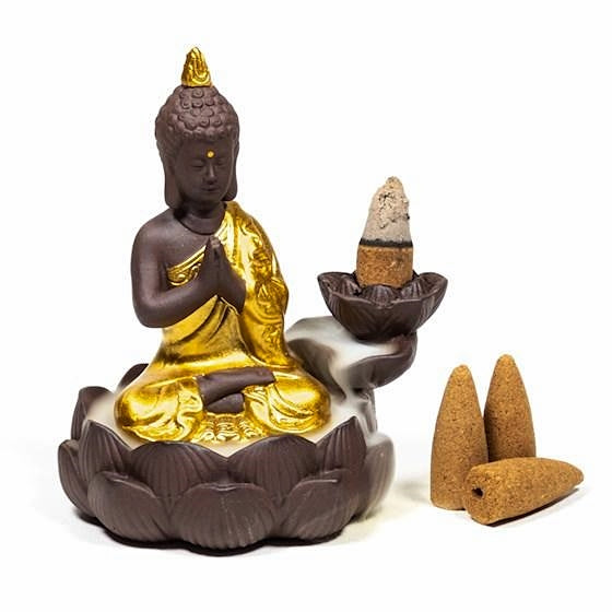 Brown and Gold Buddha Backflow Incense Burner-Incense-Serenity Gifts