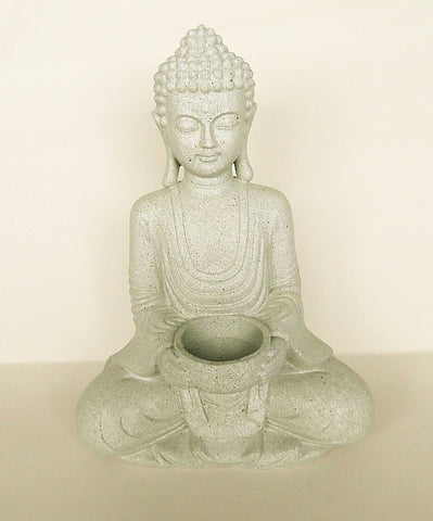 Meditating Buddha Tea Light Candle Holder - Stone Effect-Tea Light Holder-Serenity Gifts
