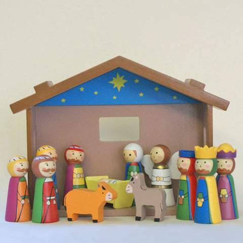 "Childrens Wooden Nativity Set - 4"" Figures-Nativity-Serenity Gifts"