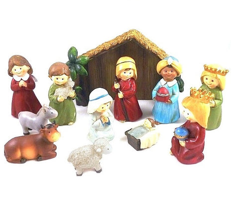 "Childrens Nativity Figures and Stable - Resin 3.5""-Nativity-Serenity Gifts"