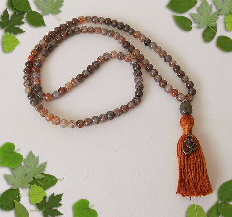 Handmade Crackle Glass Mala Beads -Earth Tones with Ohm Charm-Mala Beads-Serenity Gifts